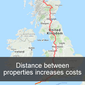 Distance between properties affecting moving costs